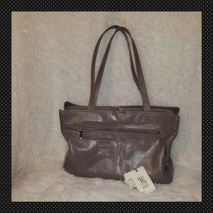 Morena Leather Zip Tote Bag, Graphite